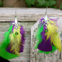 Mardi Gras Feather Earrings by Okrrah by Okrrah on Etsy