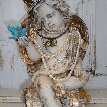 Cherub statue with crown angel sculpture with wings embellished jewelry French chic Santos home decor Anita Spero