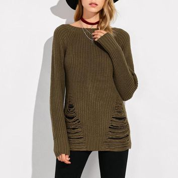 Ripped Army Green Winter Sweater