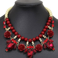 Red Beaded Link Faceted Stone And Floral Drop Choker Necklace