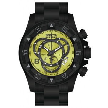 Invicta 80627 Men's Excursion Reserve Dive Yellow Lime Dial Black IP Steel Chronograph Watch