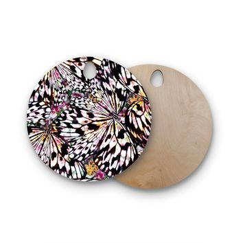 "Louise Machado ""Butterfly Wings"" Black White Round Wooden Cutting Board"