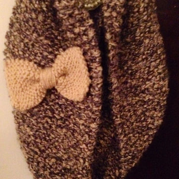 Oversized Hand Knit Infinity Scarf With Detachable Bow--cream & shades of gray