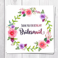 Bridesmaid Thank You Card Printable, Thank You For Being My Bridesmaid, Wedding, Peony, Boho, Bohemian, Flower Thank You Card, Flower Wreath