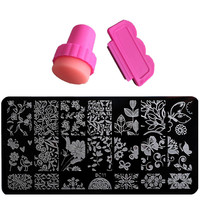 Biutee Nail Plate Nail Stamping Plate Lace Flower Animal Pattern Nail Art Stamp Stamping Template Image Plate Stencil Nails Tool