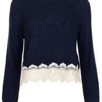 Cropped Lace Hem Top - Navy Blue