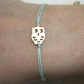 Tiny Gold Matt Owl Bracelet
