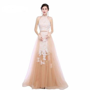 Halter Tulle Appliques Long Evening Dresses Sleeveless Removable Train Floor Length Evening Dress