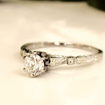 Antique Edwardian Engagement Ring 0.26ct VS1 Clarity Old European Cut Diamond Ring 18K White Gold Wedding Ring Size 5.5