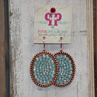 Pink Panache rose gold/mint large earrings