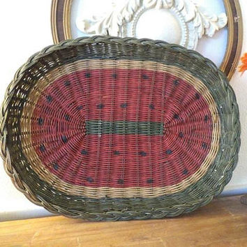 Large Vintage Woven Watermelon Basket