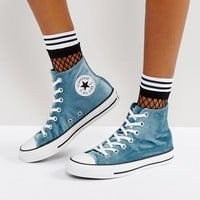 Converse Chuck Taylor All Star Velvet Hi Top Trainers In Teal at asos.com