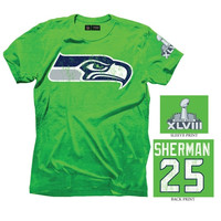 Richard Sherman Seattle Seahawks Super Bowl XLVIII Champions Name and Number T-Shirt - Action Green