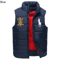 Polo Ralph Lauren 2018 winter new down cotton warm men's vest jacket Blue