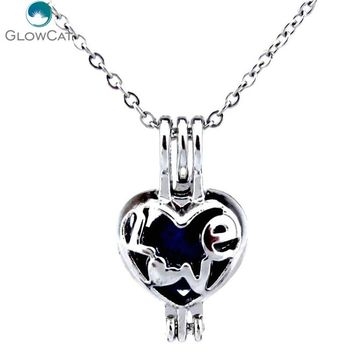 K302 Women Silver Oysters Cage Locket Love Words Heart Stainless Steel Necklace  Aroma Essential Oil Diffuser Locket