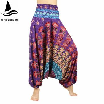 2016 New Women Yoga pants Low Cut Jumpsuit Harem Pants Cotton/Rayon Blend Bohemia Multicolor Geometric Print Long Yoga Pants