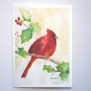 Cardinal Watercolor Christmas Card Set of 10 - Holly - Holidays - Seasons Greetings