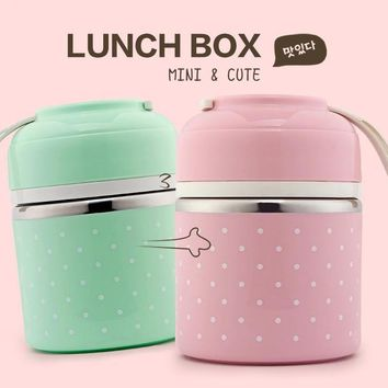Portable Cute Leak-Proof Stainless Steel Thermal Lunch Box for Kids