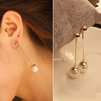 Women's Fashion Jewelry Stylish Charming Pearl Gold Plated Long Drop Earrings (Color: Gold) = 5987843969