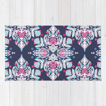 Pastel Folk Art Pattern in soft navy, pink, mauve & white Rug by Micklyn