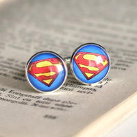 Superman Cuff Links Silver Plated Superman Sign Cufflinks Men Accessories Superheroes