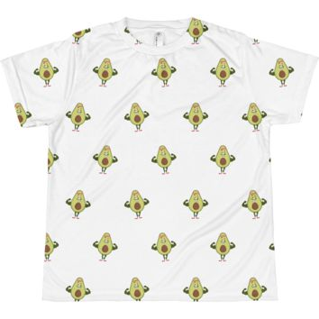 Avocado All-Over T Shirt For Girls   Funny Vegan Gym Gift Tee   The Jazzy Panda
