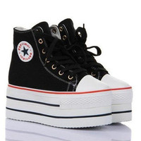 WHITE BLACK BLUE COLORS WOMENS HIGH TOP SIDE ZIP CANVAS HIGH PLATFORM SNEAKERS