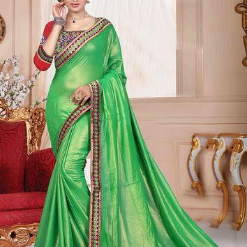 Exquisite Plain Pallu Saree in Lime Green