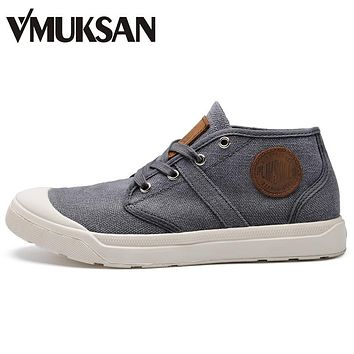 VMUKSAN 2017 New Winter Canvas Shoes Mens Boots High Quality Ankle Rubber Boots Round Toe Men's Flats Boot