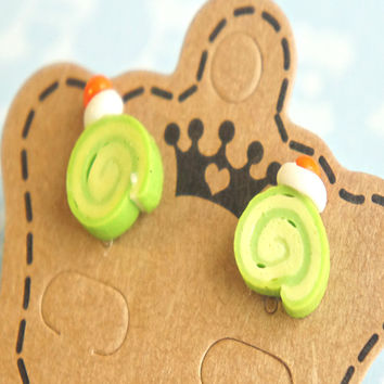 green tea cake earrings
