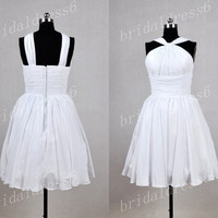 2014 White Strapless Cross Straps Lace-up A-Line Short Ruffled Bridesmaid Dress,Knee Length Chiffon Party Prom Dress
