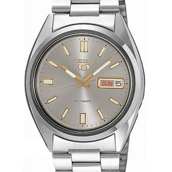 Seiko 5 Automatic Mens Watch - Charcoal Grey Dial w/ Gold-Tone - Steel Bracelet