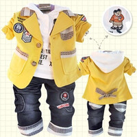 Korean Children Clothing Set Pure Cotton  Three-piece Outfit Leisure Kids Outwear for Spring Autumn = 1931611908