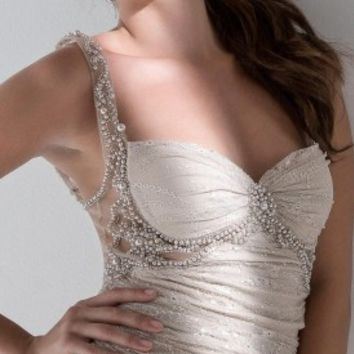Illusion pearl prom dresses by Mignon