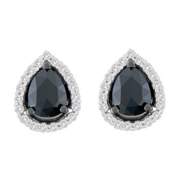 14K White Gold 1 CTTW Round and Pear-Cut Treated Black Diamond Stud Earrings