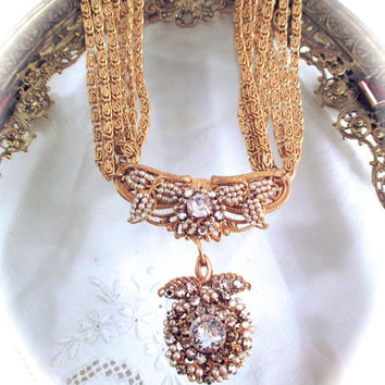 "Vintage MIRIAM HASKELL NECKLACE Multi Strand Gold Tone Faux Seed Pearls Rhinestones Necklace 14"" Long Signed Miriam Haskell"