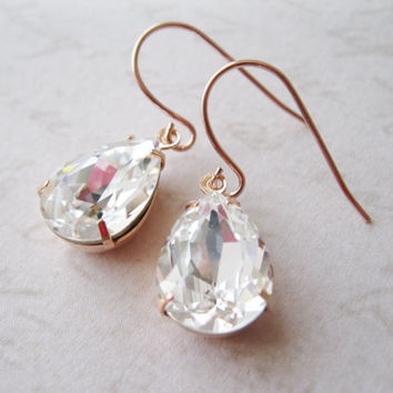 Crystal Rose Gold Plated Teardrop Earrings Bridesmaid Jewelry Vintage Style Wedding Bridal Earrings Nickel Free
