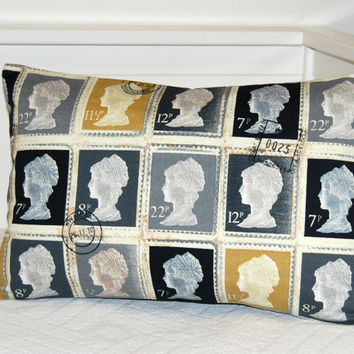 mustard grey charcoal stamps pillow cover, 12 x 18 inch gold and silver cushion cover UK