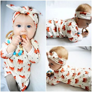 Newborn Baby Girls Clothing Tops Long Sleeve Cotton Blouse Headband Cute Animals Outfits 2pcs Clothing Set Baby Girl