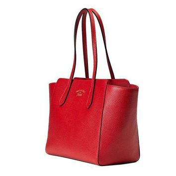 Gucci Swing Orange Red Leather Shoulder Tote Handbag Small 354408
