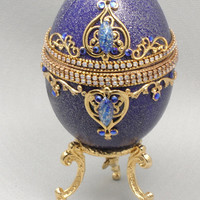 Blue Music Jewelry Box, Music Box, Keepsake Box, Treasure Box, Ring Box, Display Box, Faberge Style Decorated Goose Egg