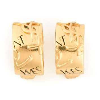 DCCKIN3 Yves Saint Laurent Vintage YSL embossed hoop clip-on earrings