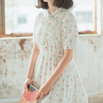 Self Tie Bow Collar Floral Print Knee Length Dress Cotton Linen Elastic Waist Short Sleeve Summer White Mori Girl Dress
