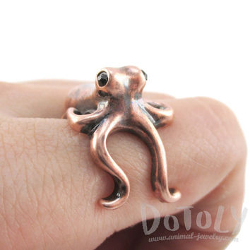 Octopus Wrapped Around Your Finger Shape Ring in Copper