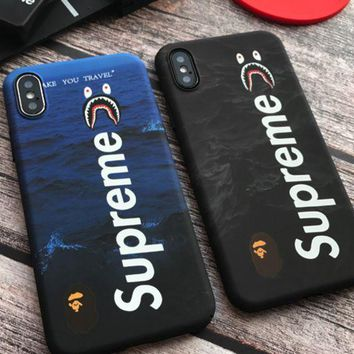 Supreme shark mouth iphoneX shell 6siphone7plus full pack 8 ape-man head grinder hard man