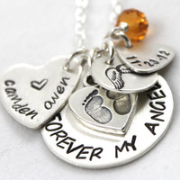 Forever My Angel, Personalized Necklace, All Sterling Silver, Baby's Name, BIrthdate with Birthstone and Angel Wings, Mother's Day Gift