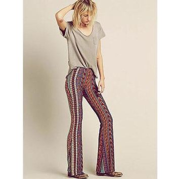 Vintage Bell Bottom Pants Paisley Print Lounge Stretch