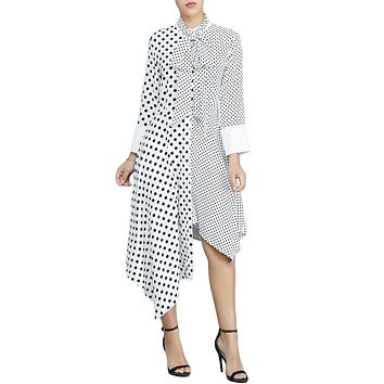White Polka Dot Asymmetric Office Vintage Dress