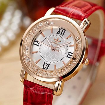 Ladies Fashion Quartz Watch Women Rhinestone Leather Casual Dress Women's Watch Rose Gold Crystal relogio feminino 2017 #3