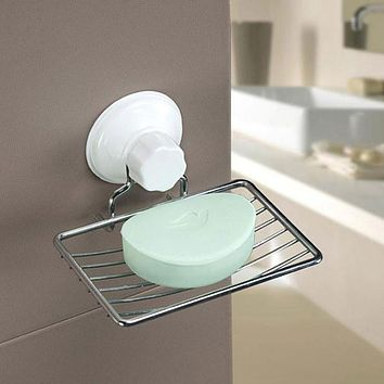 Suction Cup Soap Holder Plastic and Metal Soap Dish Tray Bathroom Accessories